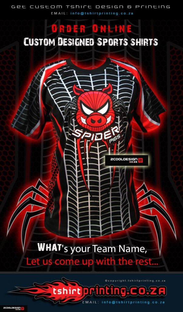 Spider Pig Tshirt for action cricket team south Africa by http://tshirtprinting.co.za / http://2cooldesign.co.za designed by Guy Tasker 2015