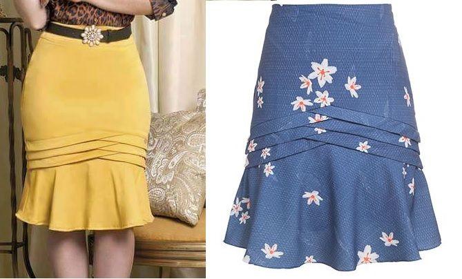 Fiz a modelagem desta saia com comprimento midi. como a azul. Caso queira mais curta, diminua 10 cm na altura da parte superior da saia. Esquema de modelagem do 36 ao 56.