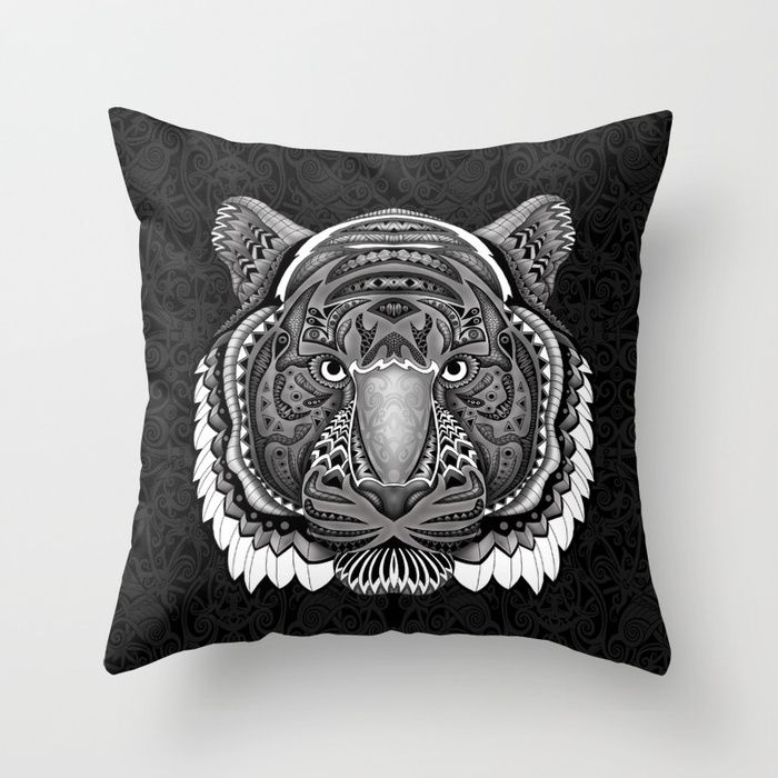 tiger face aztec pattern Throw Pillow Case @pointsalestore @society6Threesecond #pillow #case  #trhowpillow #cover #Drawing #Graphite #Inkpen #Digital #Blackandwhite #Pattern #Artdeco #Artdeco #Tiger #Animal #Mandala #Mandalas #Design #Thunder #Cats #Aztec #Mayan #American #Native #Tattoo #Gryffindor