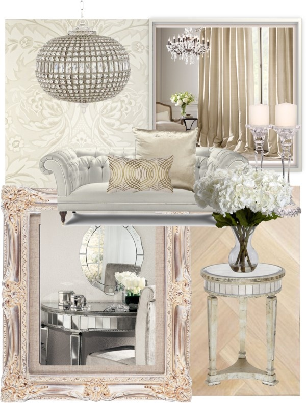 All neutral but glam living room for Glam living room ideas