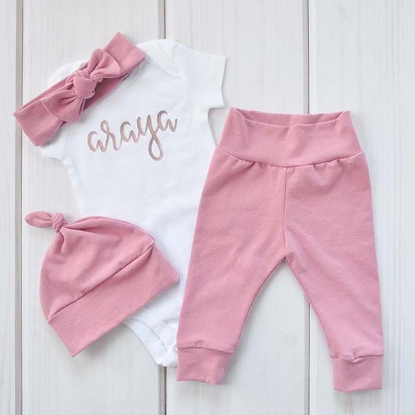 f9323fb76d081 Newborn Girl Outfit, Personalized Coming Home Set, Rose Gold ...