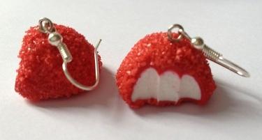 Boucles d'oreilles fraise tagada Fimo