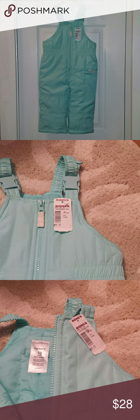 Carter's bib snow pants/overalls  18M Nwt Robin egg blue or turquoise snow suit. Size 18 months. Adjustable at shoulders. Leg is cuffed in pic 4 to show the elastic at the ankle. Carter's Jackets & Coats Puffers