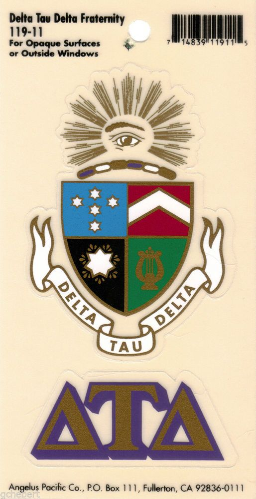 Delta Tau Delta, ΔΤΔ, Crest & Letter Vinyl Decal Combo  Indoor/Outdoor Use NEW
