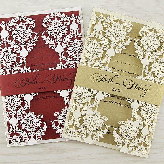 Probe Rosa Laser geschnitten Hochzeitseinladungen