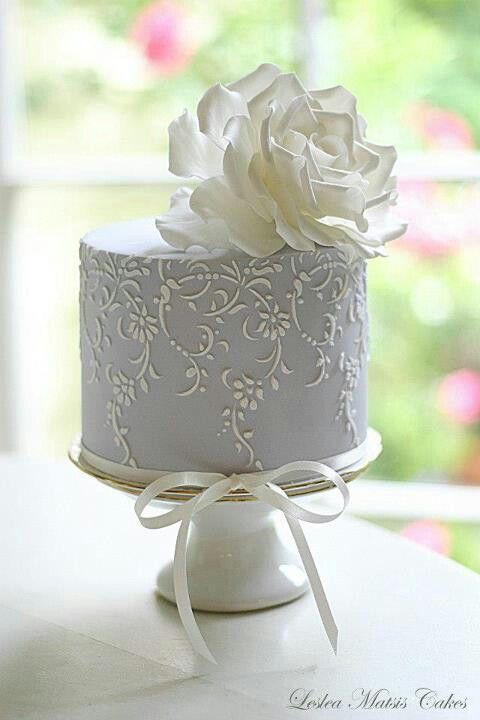 Indian Weddings Inspirations. White and Silver Mini Wedding Cake. Repinned by #indianweddingsmag indianweddingsmag.com #weddingcake