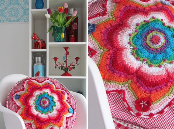 Banju red cushion by NEEDLEWORK missy (use google  to translate from Dutch) I absolutely LOVE this!