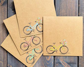 Spring Bicycle   Card Set (of 4) - Hand Painted