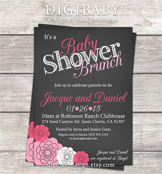 Baby Shower Brunch Invitation In Chalkboard, Hot Pink Light And Pink  Flowers, Digital Printable Files