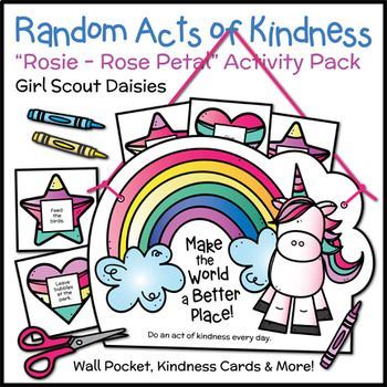 Girl Scout Daisies - Rosie the Rose - Rose Petal Badge - Daisies practice making the world a better place by crafting delightful wall pockets that hold random acts of kindness cards for girls to do daily. The cards include basic and extended sets that feature age-appropriate tasks that benefit people, the environment, and animals.