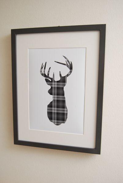 A4 Framed Grey Tartan Stag Print