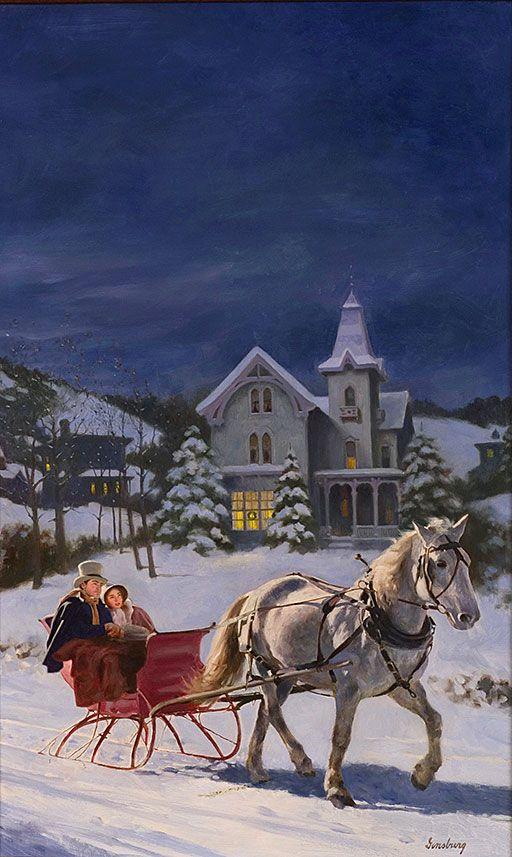 CHRISTMAS LOVE STORIES by Kay Hooper, Shannon Drake, Lisa Kleypas, Diane Wicker Davis - Max Ginsburg Illustration
