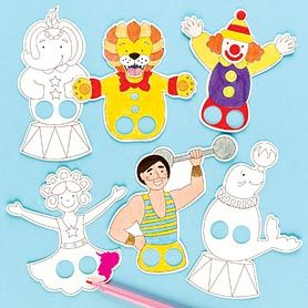 Put on your own circus show! Pre-printed card finger puppets in 8 circus designs.