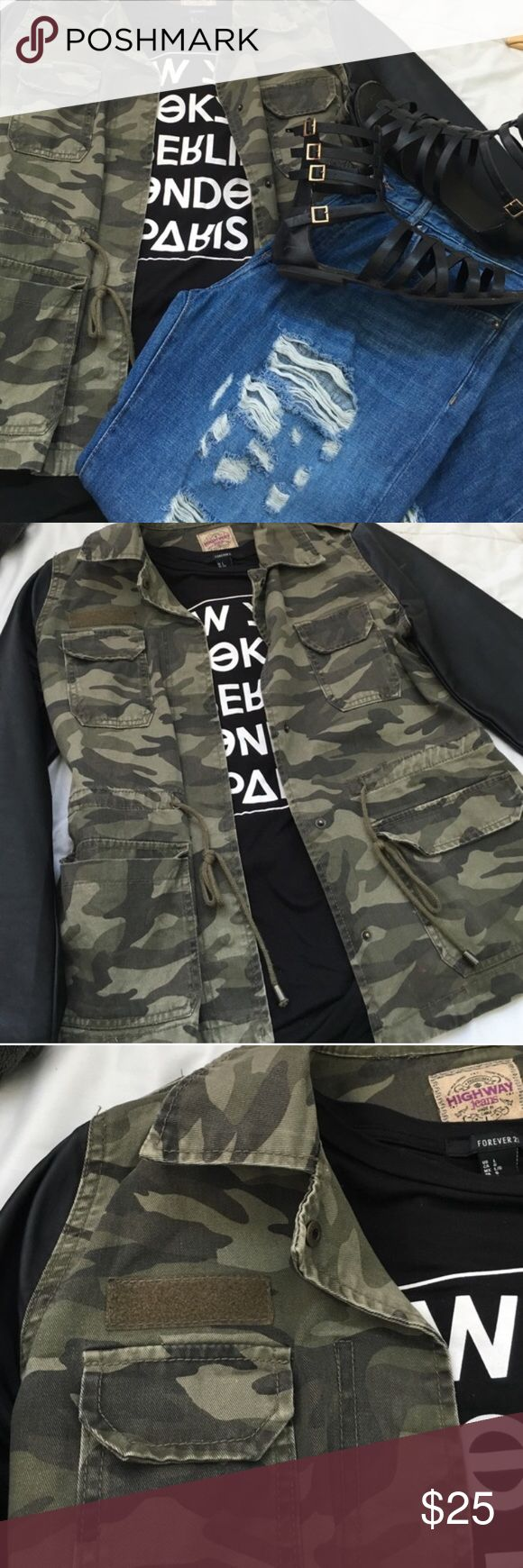 Faux Leather Army Jacket Faux leather sleeves. Canvas like material with a camouflage design. Adjustable Drawstring. The only con is a patch missing as you can see in the third picture. Make an offer ✨ Highway Jeans Jackets & Coats