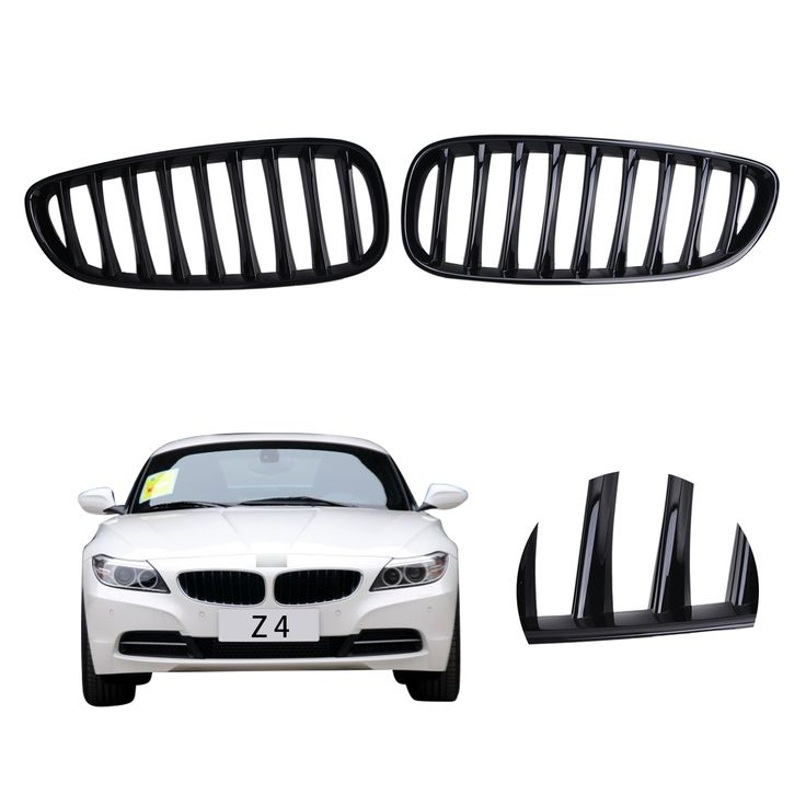 2x Gloss Black Front Grille Kidney Grill Lattice For BMW E89 Z4 Convertible M Sport / sDrive 2009-2015 Car Styling #PD548