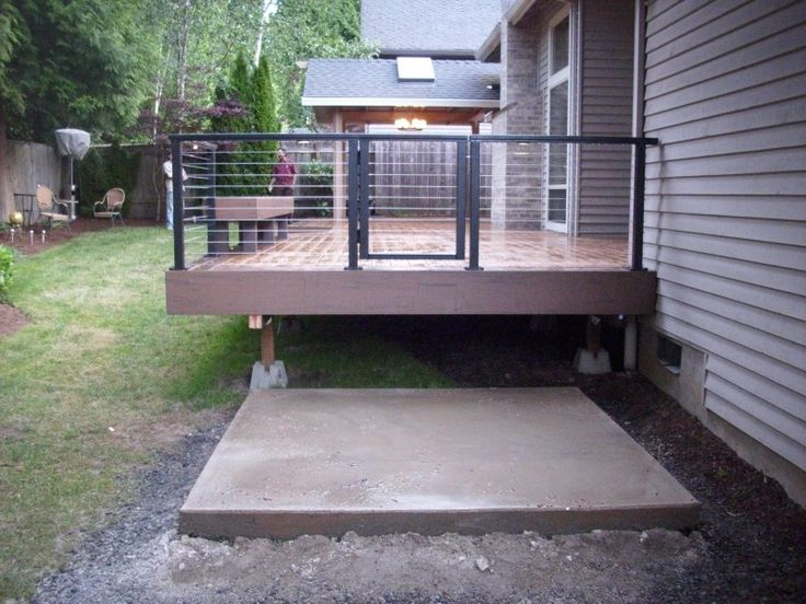 cable railing with benches | aluminum railing with stainless steel cable and hot tub pad pacific
