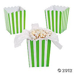 Mini Lime Green and White Stripe Popcorn boxes