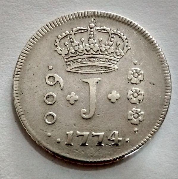 BRASIL 1774R V.2A 600 RÉIS moeda de prata SOB..