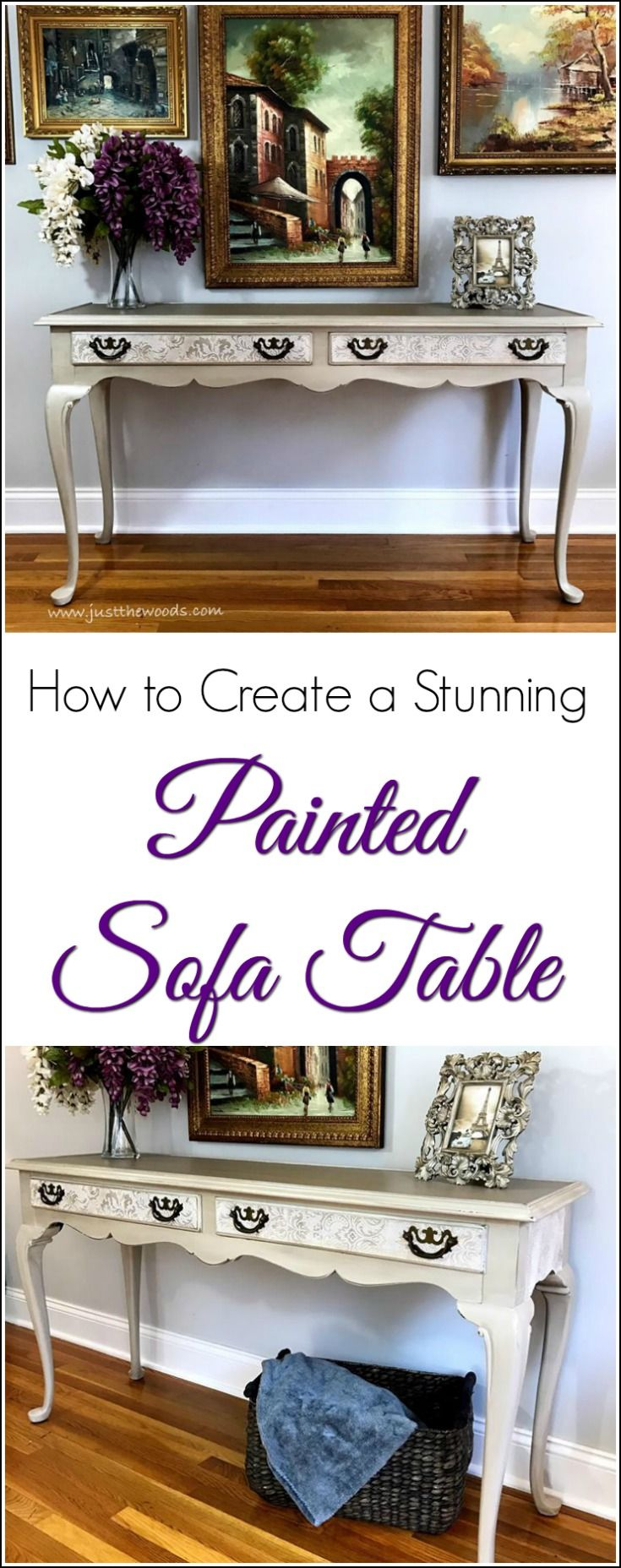 How to Create a Stunning Painted Sofa Table using soft neutrals, wallpaper decoupage and a hint of metallic pearl paint on a painted sofa table. See how to add textured wallpaper decoupage to your painted furniture, along with soft neutral chalk type paint and metallic pearl highlights. Transform a brown sofa table to a gorgeous painted sofa table.  via @justthewoods