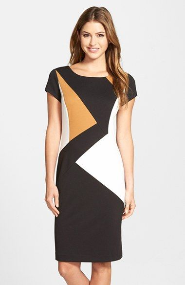Ellen Tracy Colorblock Ponte Sheath Dress available at #Nordstrom