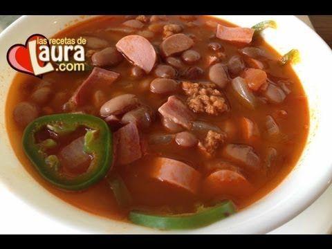 ▶ Deliciosos Frijoles Charros Las Recetas de Laura Recetas Light - YouTube