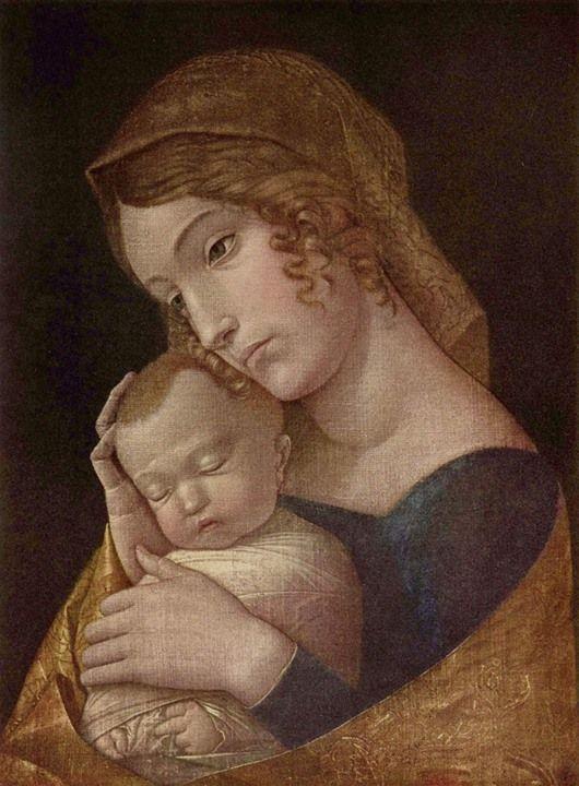 Andrea Mantegna, Madonna con il Bambino che dorme, 1455 - 1460 c., Berlino, Gemäldegalerie, tempera su tela, 43 x 32cm http://ift.tt/1Crrggc