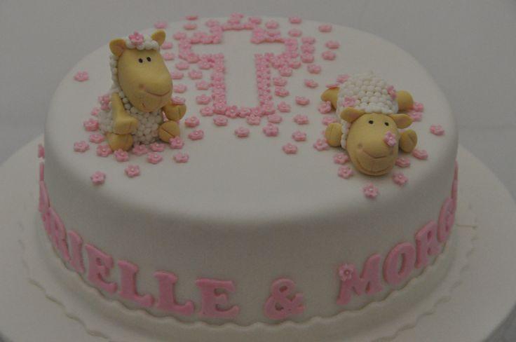 Pink lamb christening cake