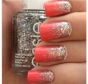 Coral nails with glitter ombre.