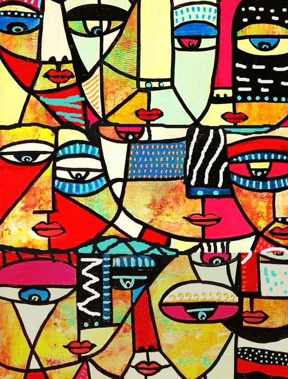 Tribal visages * - SILBERZWEIG ORIGINAL Art PRINT - expressionnisme, mexicain, moderne, folklorique, primitifs, abstrait ethnique, Native, cubisme, famille,