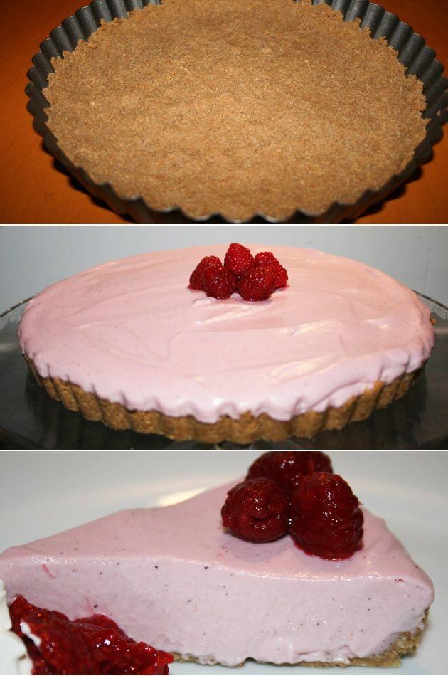 Smuk kage med en uovertruffen hindbærmousse og knas fra kiksebunden.