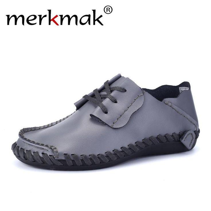 Merkmak Genuine Leather Men Shoes Boat Shoes for Men 2017 New Mens Loafers Shoes Casual Fashion Mens Falts Large Size 38-47  #fashion #vintage #Gifts #theoldjunktrunk