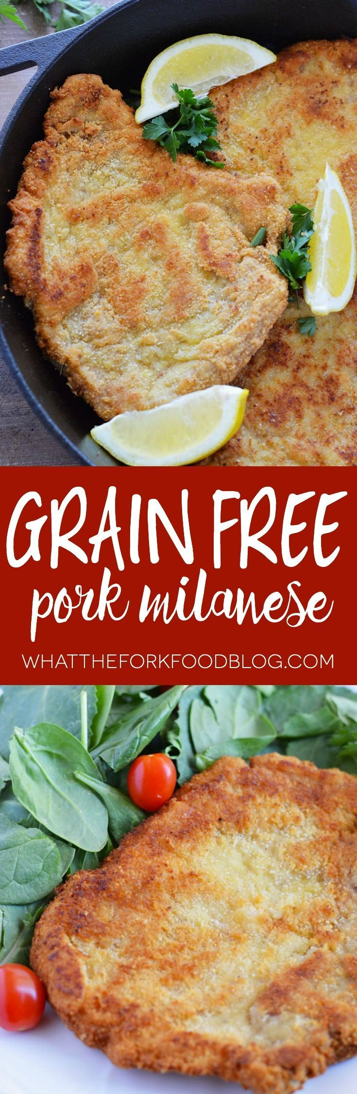 Grain Free Pork Milanese from What The Fork Food Blog made with Butcher Box all natural pork! (grain free and gluten free)