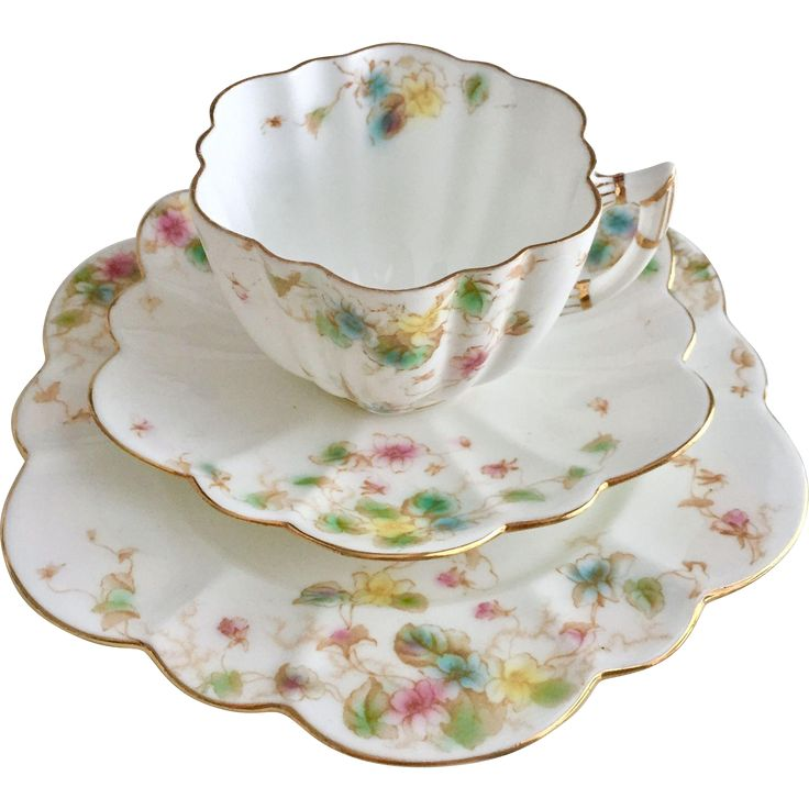 Antique Wileman teacup trio, Daisy shape with Violets pattern, 1903 from gentle-rattle-of-china on Ruby Lane