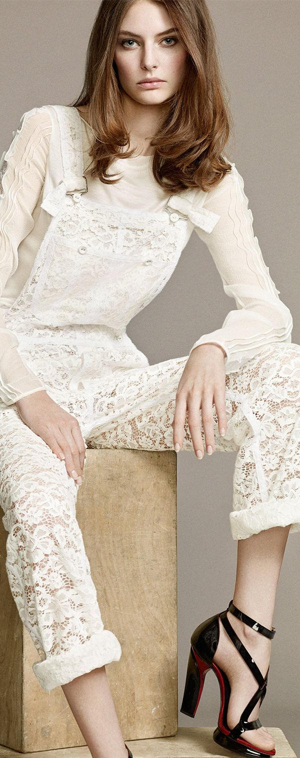 Lace Outfit - Swooning over Nina Ricci's Lace Jumpsuit, for your vintage lace event, with ivory sequin table setting perhaps? https://www.etsy.com/listing/170319037/ivory-sequin-table-cloths-free-shipping