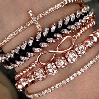 Rose stacked bracelet set