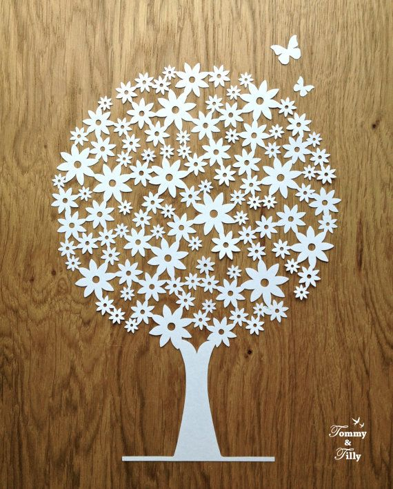 TEMPLATE 'Daisy Tree' Papercutting Design by TommyandTillyDesign