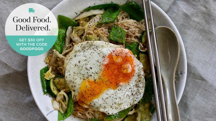 Vegie noodle stir-fry recipe with crispy fried egg