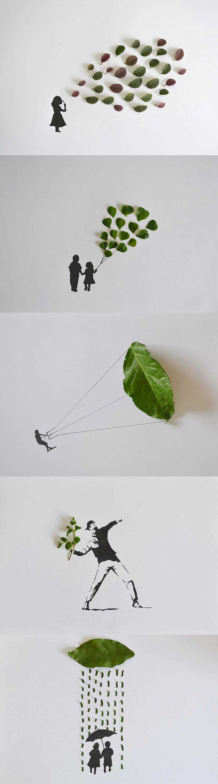 Leaf Art by Malaysian graphic designer Tang Chiew Ling
