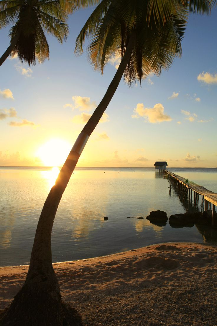 French Polynesia On The World Map%0A Sunset over the sea  seen from Ahe  Tuamotu Archipelago  French Polynesia   Credit