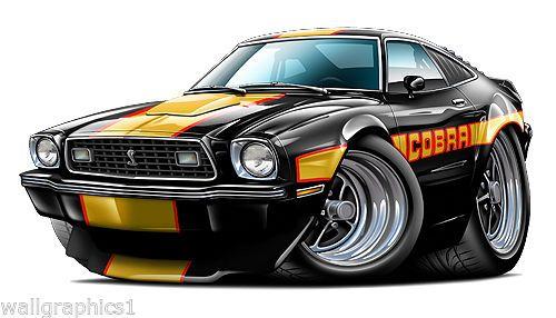 Ford Mustang Cobra 2 1978 Wall Graphic Decal Cartoon Car
