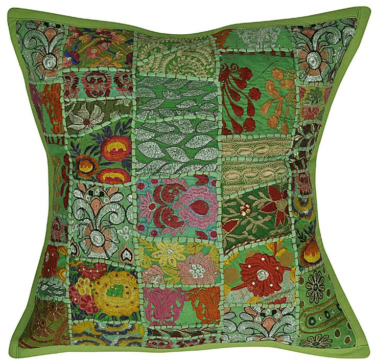 Indian Green Pillow Cases Embroidered Sari Patchwork Cotton Cushion Covers 20x20 #Handmade #EmbroideredPatchwork