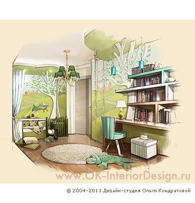 Интерьер детской комнаты в бирюзовых и оливковых тонах. Рисунок  http://www.ok-interiordesign.ru/ph_dizain-detskoy-komnaty.php
