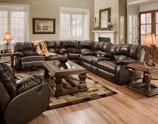 Recline Designs Furniture   Hampton Brown Leather Reclining Sectional    Traditional   Sectional Sofas   Salt