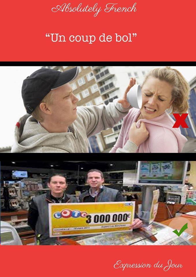 Expression du jour 🇫🇷 Signification : Avoir beaucoup de chance. Exemple : Julia a gagné au loto, elle a eu un coup de bol ! #expression #expressionfrancaise #france #francais #apprendrelefrancais #avoiruncoupdebol #learnfrench www.absolutely-french.eu