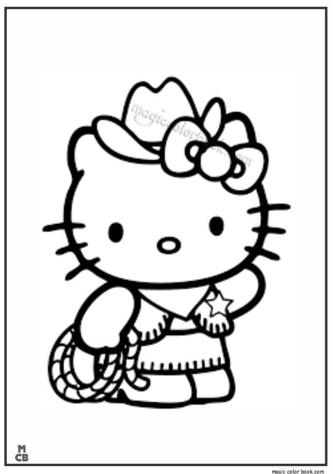 cowboy hello kitty coloring pages