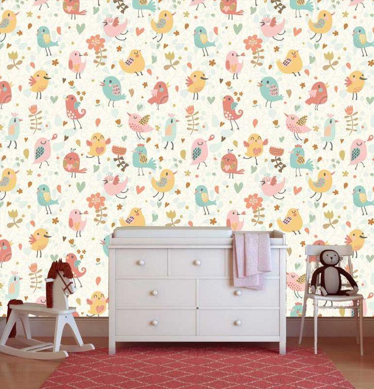 WAUW! Super vrolijk vlies fotobehang van vogels en bloemen #vliesbehang #kinderkamer #babykamer