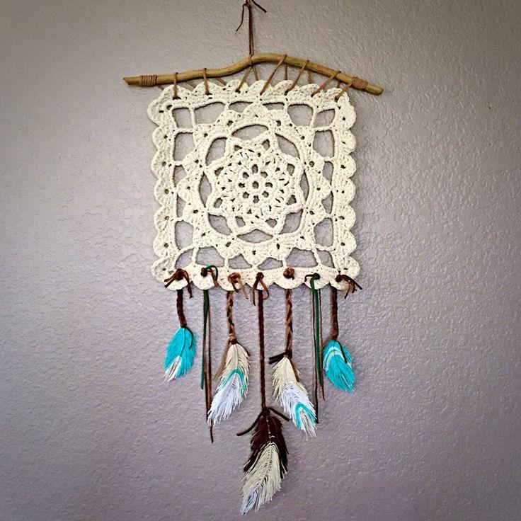 Crochet wall hanging done! #crochet #crochetdreamcatcher #dreamcatcher Link to…