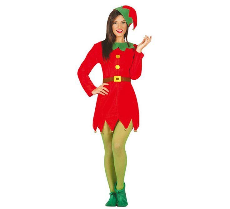 Disfraz de Elfa verde y rojo para mujer. Disponible en varias tallas. Incluye gorro y vestido. Medias y babuchas NO incluidas. Completa el disfraz de Duende con complementos de nuestra sección de Accesorios.