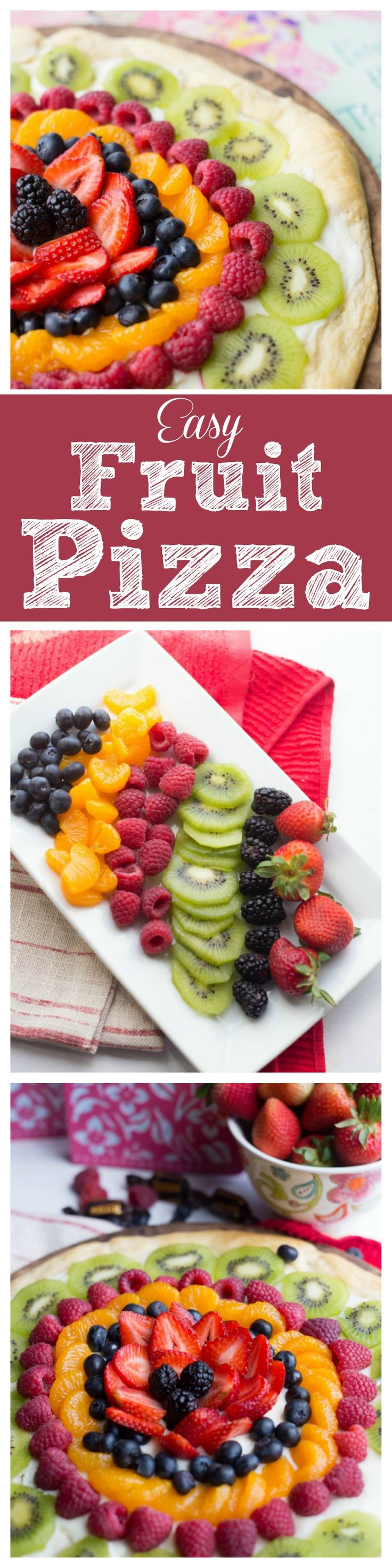 "Fruit pizza that takes only 3 ingredients + fruits! So easy to make and absolutely stunning and delicious!  Sorry, this is SO much better using a tube/roll of Pillsbury Sugar Cookie Dough.  Pat it out about 10-12"" round, bake. Spread this filling and place cut fruit!  Delicious.."