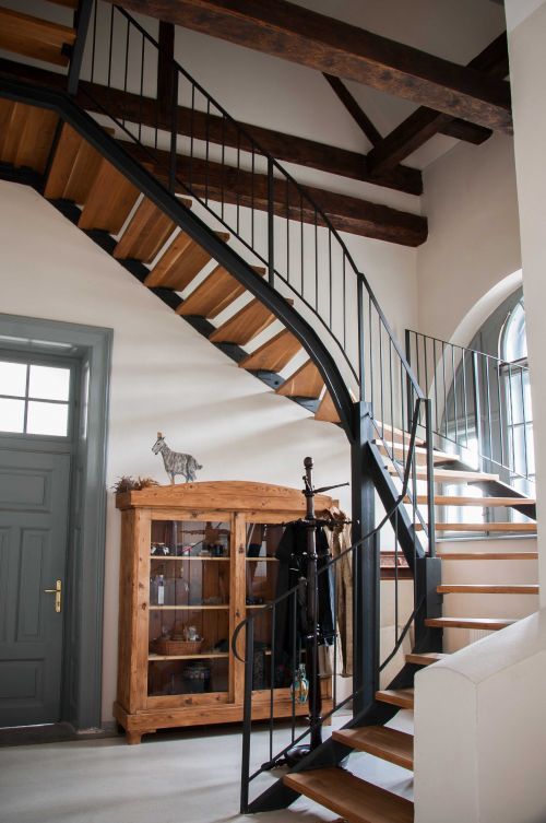 Beautiful staircase that leads to our attic rooms #simplywoodandsteel #formerschool #stairs @Cincsor.Transylvania.Guesthouses